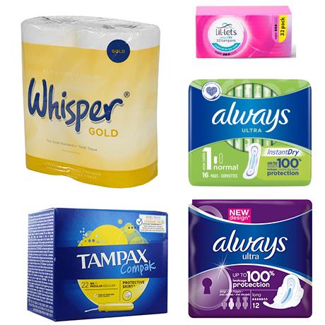 Range of feminine hygiene products