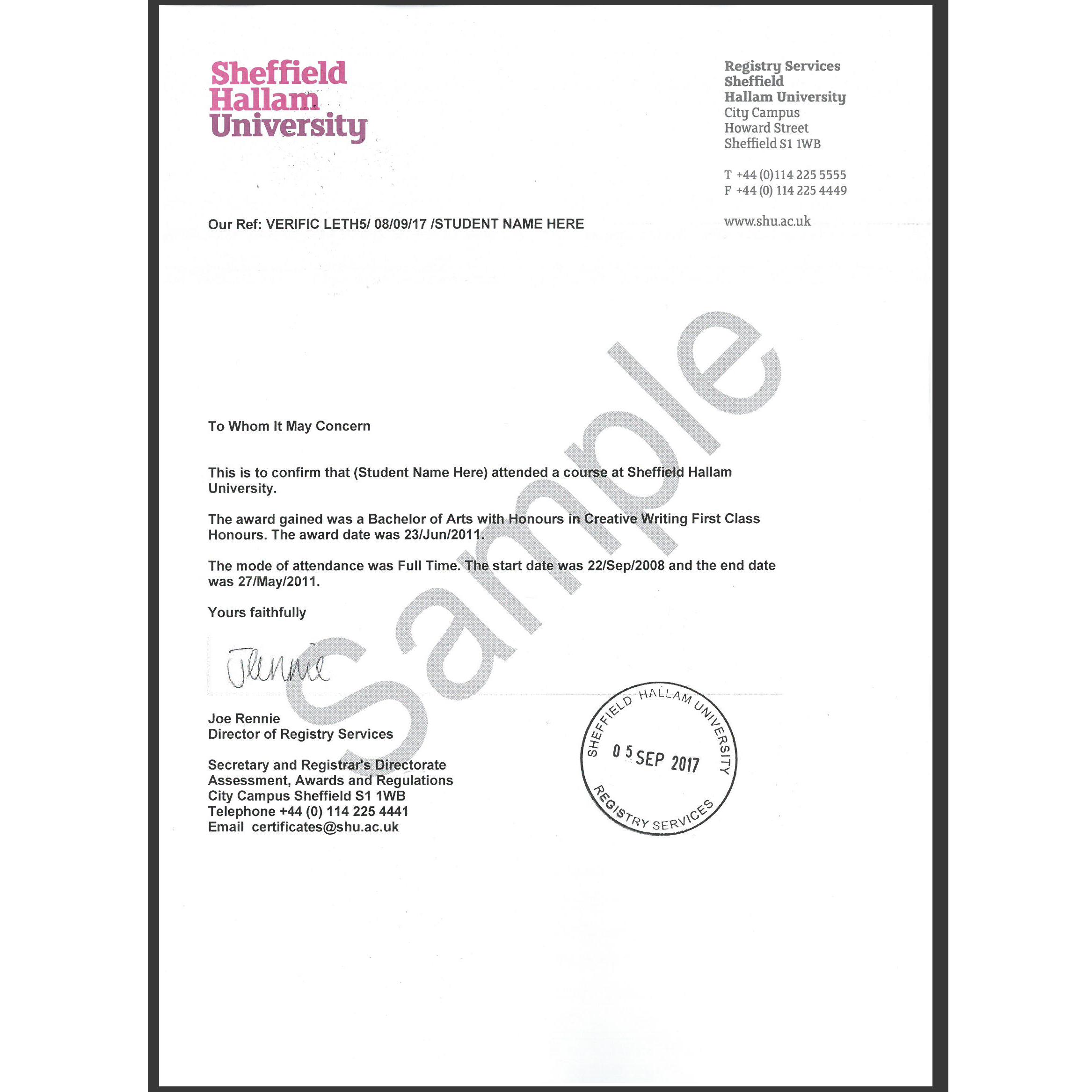 Replacement Award Certificate | Sheffield Hallam University